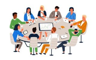 illustration of a diverse group of engaged employees sitting around a table