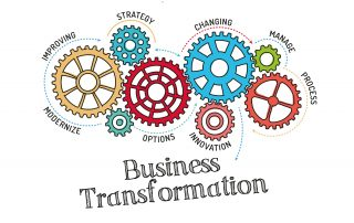 "Illustration with colorful gears labeled improving, strateby, changing, manage, process innovation, options, and modernize. ""Business Transformation"" is written in large letters at the bottom."